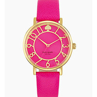 """kate spade new york """"Metro"""" Pink Saffiano Leather Strap Watch - Gold/P"""
