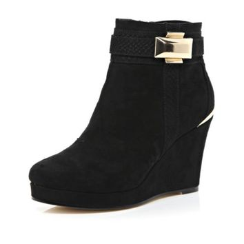 Black metal trim wedge ankle boots - ankle boots - shoes / boots - women