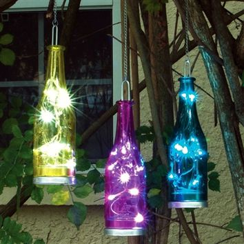 Fiesta Hanging Glass Bottles with LEDs 3 pack: Blue, Yellow, Magenta