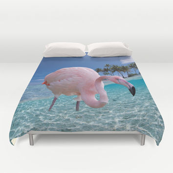 Pink Flamingo Duvet Cover by Erika Kaisersot