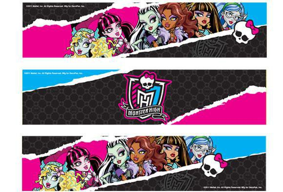Monster High Edible Image Cake Borders by DecoPac 3 Strips by SweetnTreats on Zibbet