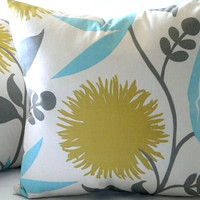 Large Dahlia Print Floral pillow cover 18 x 18