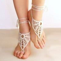 Crochet Ivory barefoot sandals, beige crochet nude shoes, foot jewelry, wedding, victorian lace, sexy, lolita, yoga, bellydance, stempunk