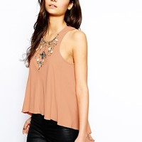 Forever Unique Droplet Embellished Top - Nude