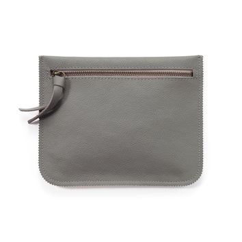 Grey leather zipper pouch, leather wallet, small purse by Leah Lerner