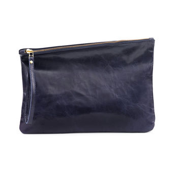 Navy leather clutch evening bag by Leah Lerner