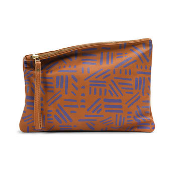 Brown leather evening clutch, hand printed leather purse by Leah Lerner