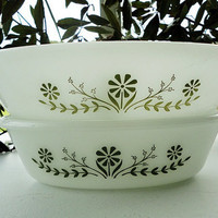 Glasbake Pair green daisy  casserole serving baking dishes