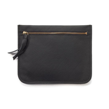 Black leather pouch wallet by Leah Lerner