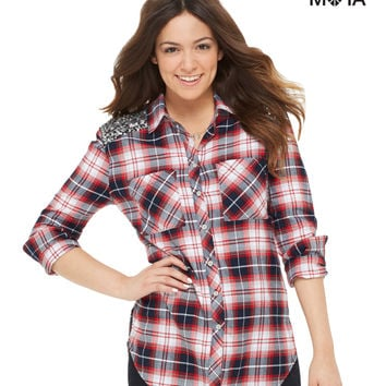 Aeropostale Womens Long Sleeve Sequined Plaid Woven Shirt - Blue,