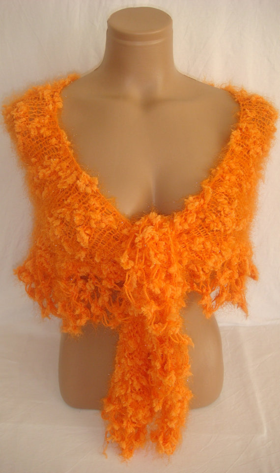 Hand knitted crocheted orange magic shawl