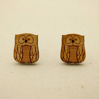 Owl stud earrings -  lasercut eco friendly wooden bird jewelry  - bird earrings by One Happy Leaf