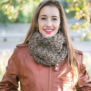 Fitted Wool Cowl ~ THE MIMI ~ Wool Circle Cowl Scarf - Barley Brown Cowl