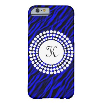 Zebra Royal Blue Black Monogram iPhone Case