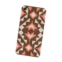Peach Geometric iPhone 4S Skin: iPhone 4 Skin Decal - Cell Phone Southwest Triangle Tribal in Orange Peach White and Wood Boho iPhone Skin