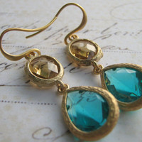 Turquoise Chalcedony Earrings, Topaz Chalcedony Earrings, and Topaz Faceted Glass and Matte Gold Plate Earrings - Bridesmaid Earrings