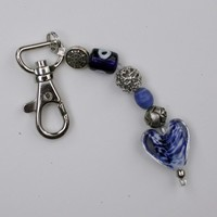 Key Chain with Blue Glass Heart, Blue and Silver Beads, Swivel Clasp