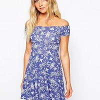 New Look Bird Print Skater Dress