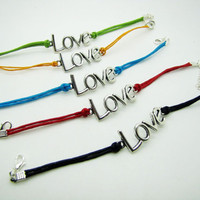 silvery love pendant black ropes bracelet women rope jewelry bangle 1071A