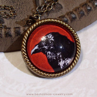 Red & Black Gothic Bird Necklace - Crow Raven Picture Necklace Art Necklace Goth Necklace Small Pendant Glass Picture Pendant Charm Jewelry