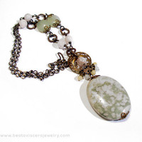 Peace Jade Green Vintage Style Neo-Victorian Jewelry - Antique Brass Necklace - Pink Green Yellow White - Natural Stone Large Pendant