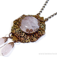 Neo Victorian Gothic Rose Quartz Brass Filigree Wrap Necklace - Handmade Natural Stone Pendant - Pink Stone Necklace - Vintage Style