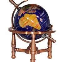 Unique Art 6-Inch Tall Blue Lapis Ocean Mini Table Top Gemstone World Globe with Copper Tripod:Amazon:Home & Kitchen