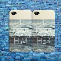 I Miss Her Him Couple Case Cute Ocean Rubber Phone Cover iPhone 4 4s 5 5c 5s