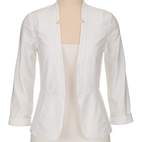 White textured open front blazer