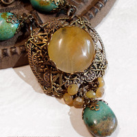 Turquoise Golden Jade &amp; Yellow Opal Neo Victorian Necklace - Blue Yellow - Vintage Look - Natural Stone Medallion Pendant