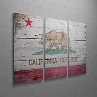 Vintage California Flag Gallery Wrapped Canvas Triptych Print