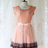 Lady In Tokyo - Sweet Pale Peach Girly Dress Pucker Round Neck Two Layers Skirt With Tutu and Black Lace Party Wedding Cocktail Dinner Dress