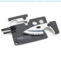 Tool Logic CC1SB Credit Card Companion with Serrated 2-Inch Steel Blade, Lens and Compass, 9-Tools Total, Black Finish:Amazon:Home Improvement
