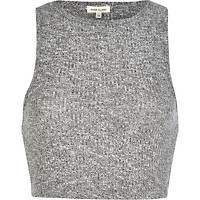 River Island Womens Grey marl rib fitted crop top