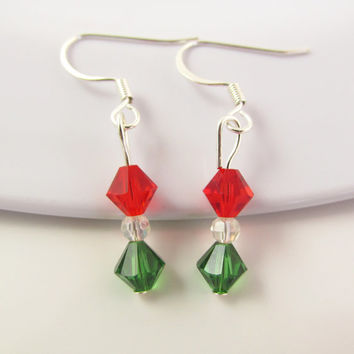 Christmas Earrings, Christmas Jewelry, Holiday Earrings, Christmas Crystal Earrings, Seasonal Earrings, Red Green Earrings