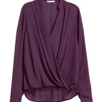 Draped Wrap-style Blouse - from H&M