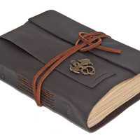 Dark Brown Leather Journal with Tea Stained Paper and Dragon Charm Bookmark - Ready to ship