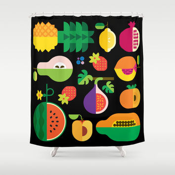 Fruit Medley Black Shower Curtain by Christopher Dina | Society6