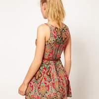 Glamorous Paisley Belted Skater Dress at asos.com