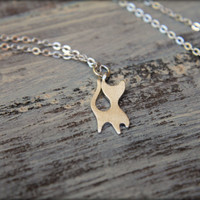 Cat Silhouette Necklace in Brushed Silver