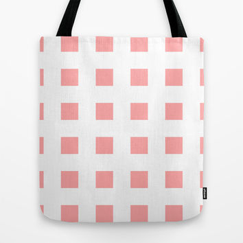 Coral Pink Cross Squares Tote Bag by BeautifulHomes | Society6