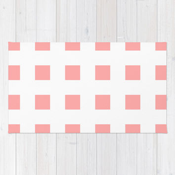 Coral Pink Cross Squares Area & Throw Rug by BeautifulHomes | Society6