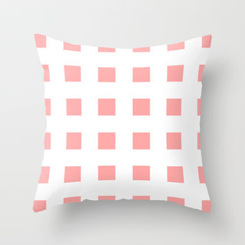 Coral Pink Cross Squares Throw Pillow by BeautifulHomes | Society6