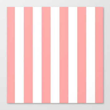Coral Pink Stripe Vertical Stretched Canvas by BeautifulHomes | Society6