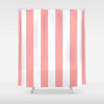 Coral Pink Stripe Vertical Shower Curtain by BeautifulHomes | Society6