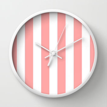 Coral Pink Stripe Vertical Wall Clock by BeautifulHomes | Society6