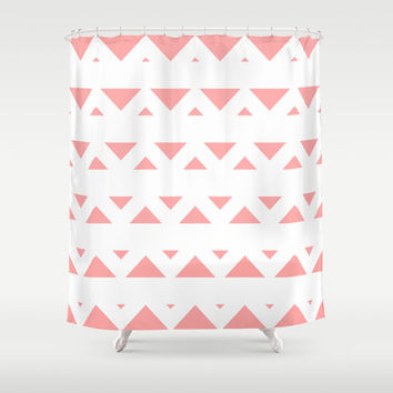Coral Pink Tribal Triangles Shower Curtain by BeautifulHomes | Society6