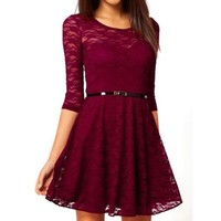 Daditong Women's Spoon Neck 3/4 Sleeve Lace Skater Dress Belt:Amazon:Clothing