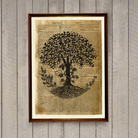 Oak tree decor Nature poster Dictionary page Art print