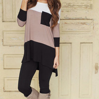 Black & Taupe Color Block Tunic